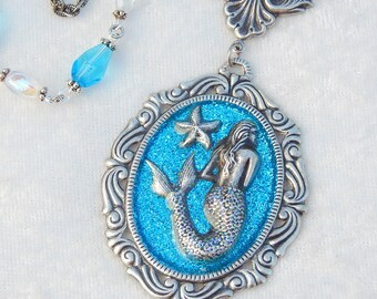 Under the Sea- Antiqued Silver and Glitter Mermaid Necklace (N-133)