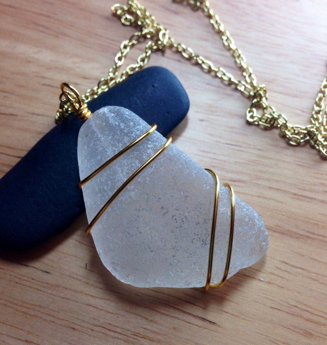 Sea Glass Jewelry Wire Wrapped Beach Glass Necklace In The