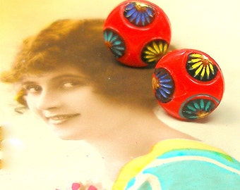 1920s Tiny BUTTON earrings, Art Deco fans on sterling silver posts.