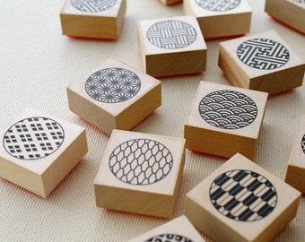 4 pcs - Rubber stamp of a traditional Japanese design – Circle form – karaku original stamp