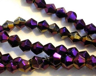 Glass Beads  SALE CLOSEOUT (GB133) 4mm Metallic Purple Bicone