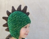 Dragon Hat in Forest Green -Dragon Costume, Dinosaur Costume, Army Green Dinosaur Spike Hat, Ear Flap Hat