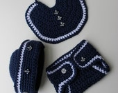 Crochet Sailor Hat Pattern - Crochet Bib Pattern - Crochet Diaper Cover Pattern- Nautical Baby Boy -  No 70 - KrissysWonders