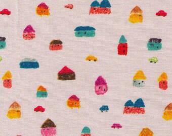 HALF YARD Kiyohara - Colored Crayon Village by Yusuke Yonezu - Japanese Import Fabric