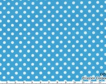 HALF YARD - Lecien - Color Basic - 4505-L  White Mini Dots on Blue - Japanese Import Fabric