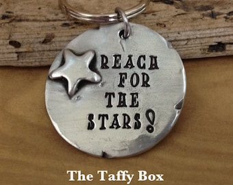 Hand Stamped Graduation Keychain - Personalized  on back- Pewter