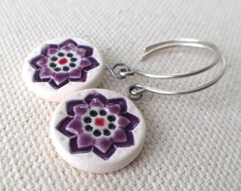 starflower earrings, plum and black ... handmade porcelain jewelry by Sofia Masri