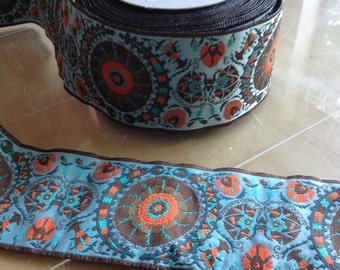 Wide Jacquard RIBBON - 2 1/2 Inch - Blue Suzani