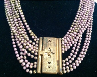 Vintage 1940s Pink and Gold Multi Chain Lock  Necklace OOAK Gold epsteam Sale