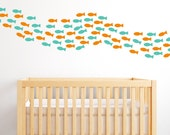 School Of Fish Wall Decals - Fish Decals - Fishies Wall Mural Decal - Under The Sea Wall Decals - Child Decal - Sea Creature Decal - WD1057