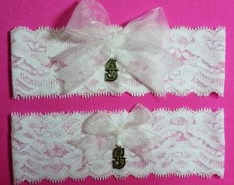 Seattle Mariners Wedding Garter Set  White Lace Handmade Wedding Garter Set with Seattle Mariners Charm