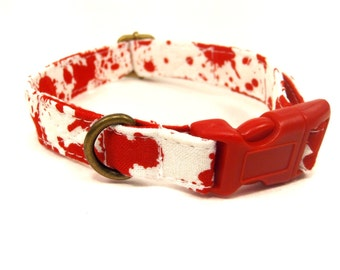 Redrum - Organic Cotton CAT Collar Blood Splatter Halloween - All Antique Brass Hardware
