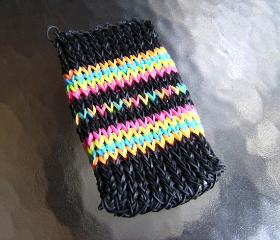 Cell Phone Case Rainbow Loom Rubber Band Neon Black