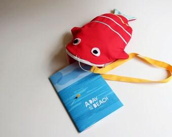Tote bag Fish ( RED) + book