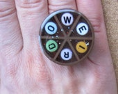 WEIRDO - upcycled Trivial Pursuit adjustable ring