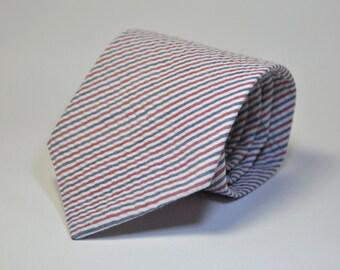 Red, White and Blue Seersucker Men's Necktie