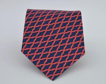 Navy Blue and Coral  Boy's Necktie Toddler Necktie Baby Necktie