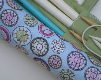 large knitting needle case - knitting needle organizer - clocks - time to knit in pastels- 36 pockets