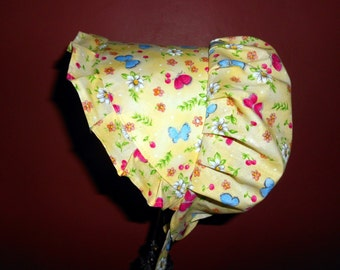 Sunbonnet Toddler Yellow Butterfly Garden 9 to 24 months 11USD
