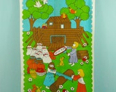 vintage childrens terry cloth towel from the sixties, Europe
