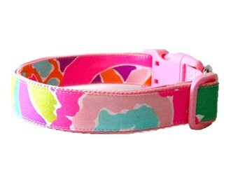 Dog Collar Made from Lilly Pulitzer Lulu Fabric on Light Pink Size: Your Choice