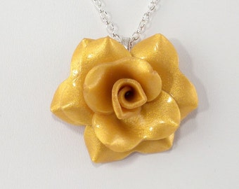 Light Gold Rose Pendant Necklace - Simple Rose Necklace - Handmade Wedding Jewelry - Polymer Clay Rose - Ready to Ship - #227 Ready to Ship