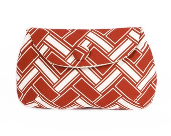 Vintage Brick Print clutch purse