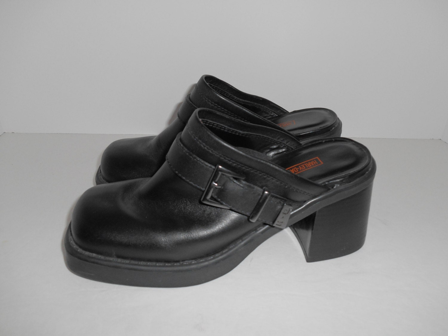 vintage 90s harley davidson womens black chunky shoes slip on