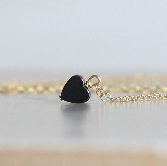 Tiny Heart Necklace, Hematite Heart Necklace, Tiny Black Heart Necklace, Girlfriend Gift, Wife Gift, Gift for Her