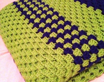 Made-to-Order Extra Large Granny Square Afghan Blanket - 5.5 ft x 5.5 ft - Choose up to 4 colors