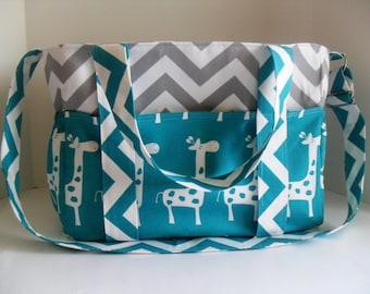 Giraffe Diaper Bag - Diaper Bag - Chevron Diaper Bag - Turquoise Giraffe - Extra Large Diaper Bag - Messenger Bag