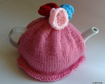 English Rose Teapot Cozy Hand Knitted