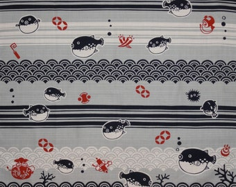Furoshiki Fugu Blowfish Cotton Japanese Fabric 50cm w/Free Insured Shipping
