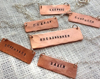 Custom Hand-stamped Copper Necklace