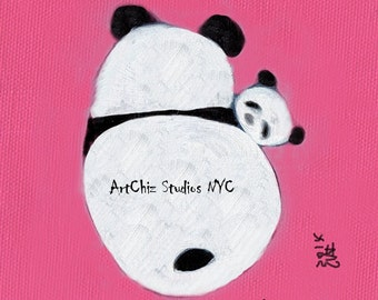Panda and Baby Panda Illustration. Panda Art. Panda Family. Nursery Decor. Pink. Kids Decor. Kawaii. Poster. Signed by Artist - Cuddle Time