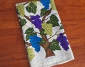 Vintage Linen Tea Towel - Grapes in Purple Blue and Green