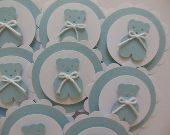 Teddy Bear Cupcake Toppers - Blue and White - Boy Baby Shower - Boy Birthday Party Decorations - Set of 12