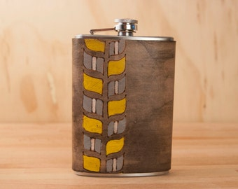 8oz Flask - Roger pattern - Modern in yellow, gray, white and antique black