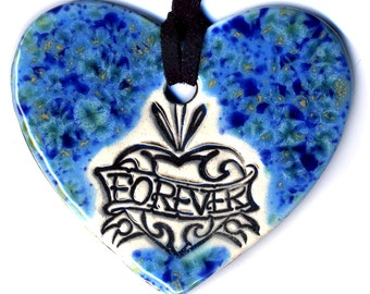 Forever Heart Ceramic Necklace In Speckled Blue