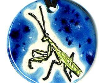 Praying Mantis Ceramic Necklace In Blue