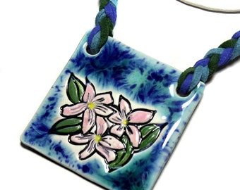 Hawaiian Flower Square Necklace with Braided cord Adjustable length