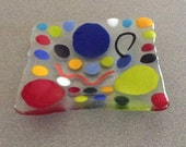 Medium Square Glass Dish - Polka Dots and Doodles
