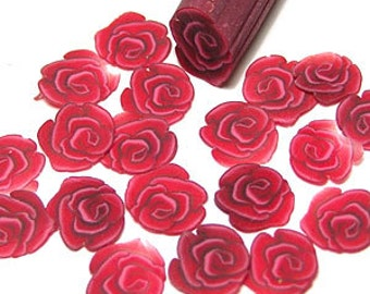 Red rose, fimo nail art cane, 2-inch (5cm) long polymer clay cane, DIY, Miniatures, Scrapbooking, Made in USA