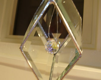 Diamond Shaped Beveled Glass With Crystal Sun Catcher.