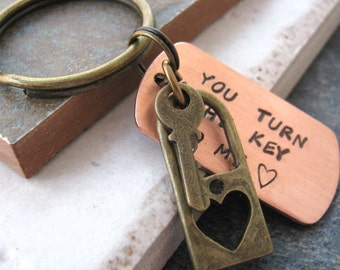 You Turn the Key To My Heart Keychain, Brass lock and key charms, Valentine keychain, valentine's day gift, anniversary gift, gifts under 20
