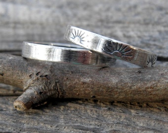 Stamped sterling silver stacking rings