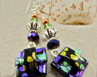 Purple Dichroic Glass earrings, Fused glass jewelry, dichroic glass earrings, fused dichroic glass, Hana Sakura, Trending now, Glass fusion