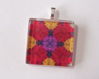 Glass Tile Pendant Necklace -  Kaleidoscope No. T-27