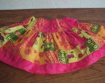 Girls Patchwork Twirl Skirt Hot  Pink Skirt Summer Skirt size 5 6