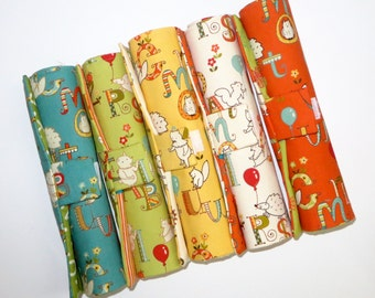 READY to SHIP - Pencil Rolls in Animal ABC Prints - Choose from Teal, Pumpkin, Green Apple, Vanilla and Banana
